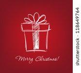 gift box   hand drawn  vector... | Shutterstock .eps vector #118649764
