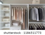 modern closet with clothes... | Shutterstock . vector #1186511773