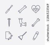 outline 9 fix icon set.... | Shutterstock .eps vector #1186523569