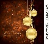 three golden christmas balls on ... | Shutterstock .eps vector #118653526