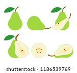 pears. cut green pear fruits.... | Shutterstock .eps vector #1186539769