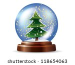 snowglobe with christmas tree | Shutterstock .eps vector #118654063