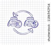 change money icon. hand drawn...   Shutterstock .eps vector #1186542916