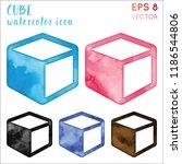 cube watercolor icon set. alive ... | Shutterstock .eps vector #1186544806
