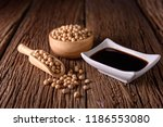 soy sauce with soy bean on...   Shutterstock . vector #1186553080