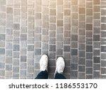 top view of selfie feet on...   Shutterstock . vector #1186553170