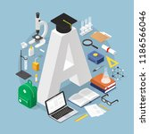 isometric education concept... | Shutterstock .eps vector #1186566046