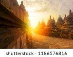 sunrise at borobudur. ancient... | Shutterstock . vector #1186576816