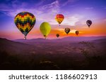 colorful hot air balloons ... | Shutterstock . vector #1186602913
