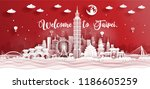 panorama postcard of world... | Shutterstock .eps vector #1186605259