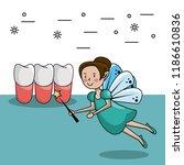 tooth fairy cartoon   Shutterstock .eps vector #1186610836