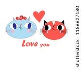 funny postcard funny loving... | Shutterstock .eps vector #1186627180