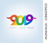 inscription happy new year 2019 ... | Shutterstock .eps vector #1186629013