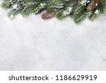 christmas fir tree branch... | Shutterstock . vector #1186629919