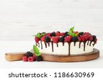 cheese cake with chocolate and... | Shutterstock . vector #1186630969