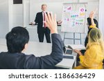 business man hand up for asking ... | Shutterstock . vector #1186636429