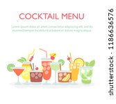 colorful drinks set with the... | Shutterstock .eps vector #1186636576