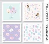 cute cartoon seamless patterns... | Shutterstock .eps vector #1186647469