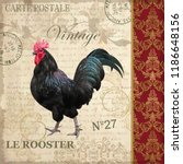 Vintage Postcard With Rooster.