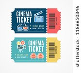 cinema movie tickets set with... | Shutterstock .eps vector #1186650346