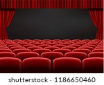 red open curtain with seats in... | Shutterstock .eps vector #1186650460