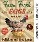 farm fresh eggs vintage poster. | Shutterstock .eps vector #1186650640