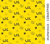 lol pattern seamless yellow... | Shutterstock .eps vector #1186659400