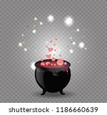 black witch pot cauldron with... | Shutterstock .eps vector #1186660639