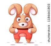 crazy rabbit with big eye.... | Shutterstock .eps vector #1186661803