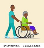 nurse strolling with afro... | Shutterstock .eps vector #1186665286