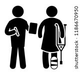 a volunteer person asking for... | Shutterstock .eps vector #1186670950