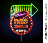 neon sign black friday open.... | Shutterstock .eps vector #1186672840