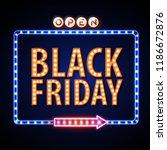 neon sign black friday open.... | Shutterstock .eps vector #1186672876