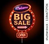 neon sign big sale open.... | Shutterstock .eps vector #1186672936