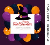 halloween card with witch hat... | Shutterstock .eps vector #1186673929