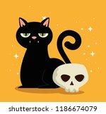 halloween card with black cat... | Shutterstock .eps vector #1186674079