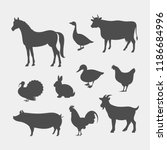 farm animals silhouettes. horse ... | Shutterstock .eps vector #1186684996