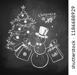 vector chalk drawn illustration ... | Shutterstock .eps vector #1186688929