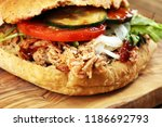 pulled pork sandwiches with bbq ... | Shutterstock . vector #1186692793