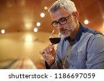 winemaker tasting red wine in... | Shutterstock . vector #1186697059