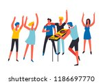 party people listening to dj... | Shutterstock .eps vector #1186697770