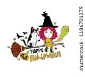 happy halloween. lettering.... | Shutterstock .eps vector #1186701379