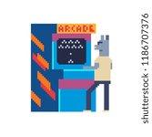 arcade game retro machine and... | Shutterstock .eps vector #1186707376