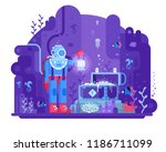 retro diver standing on seabed... | Shutterstock . vector #1186711099