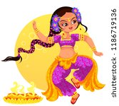 diwali holiday and girl showing ... | Shutterstock .eps vector #1186719136