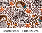 ethnic paisley pattern with... | Shutterstock .eps vector #1186723996