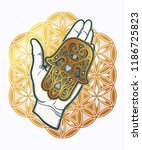 amulet in the palm of your hand | Shutterstock .eps vector #1186725823