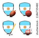 argentina shield. sports items   Shutterstock . vector #1186735480