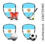 argentina shield. sports items   Shutterstock . vector #1186735483