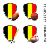 belgium shield. sports items   Shutterstock . vector #1186735486
